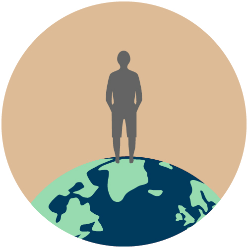 Graphic of person standing on world